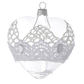 Bolas de Navidad: Adorno árbol de Navidad corazón de vidrio soplado con encaje 100 mm