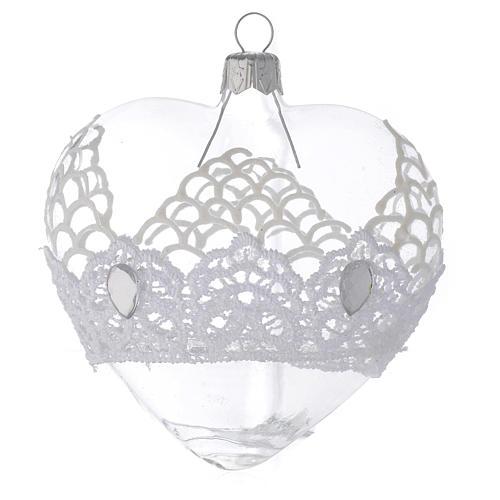 Adorno árbol de Navidad corazón de vidrio soplado con encaje 100 mm 1