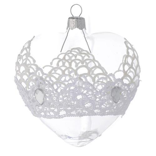Adorno árbol de Navidad corazón de vidrio soplado con encaje 100 mm 2