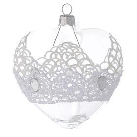Addobbo Cuore vetro merletto 100 mm s2