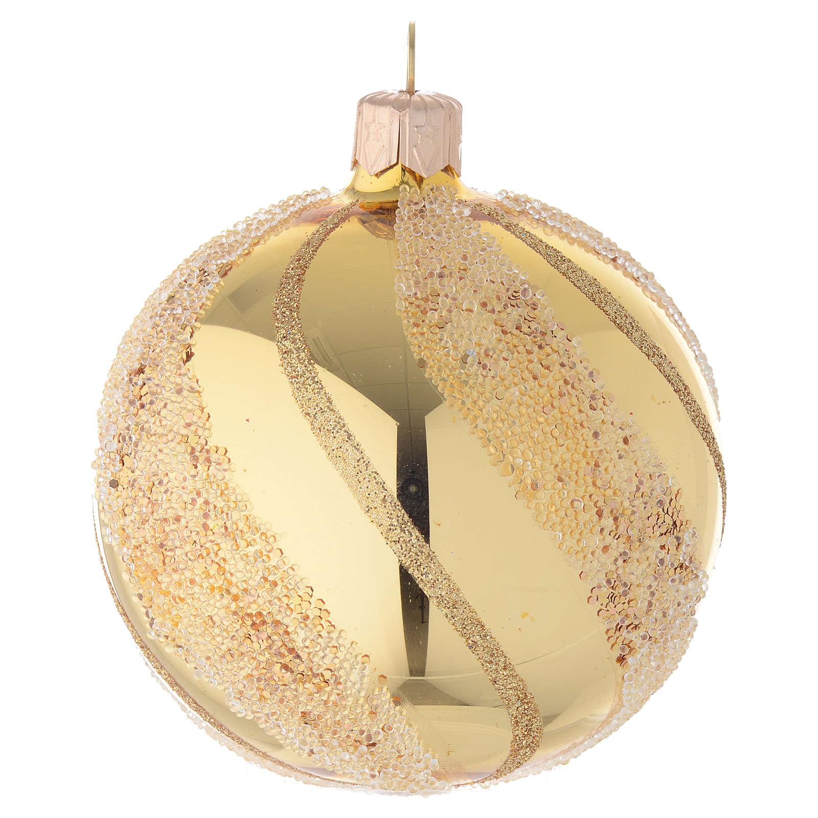 Adorno Navideño bola vidrio oro glitter 80 mm 4