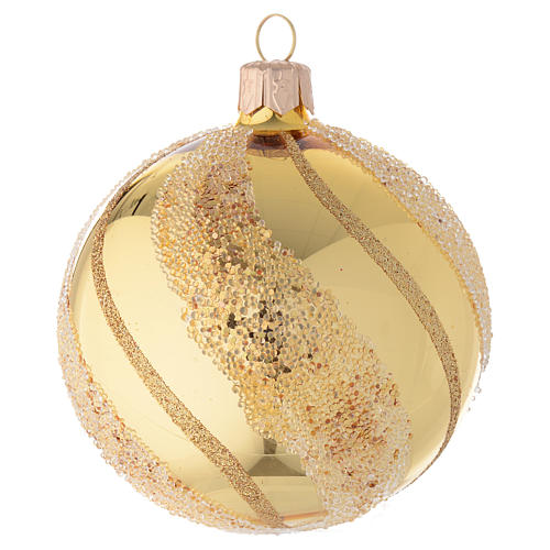 Adorno Navideño bola vidrio oro glitter 80 mm 1