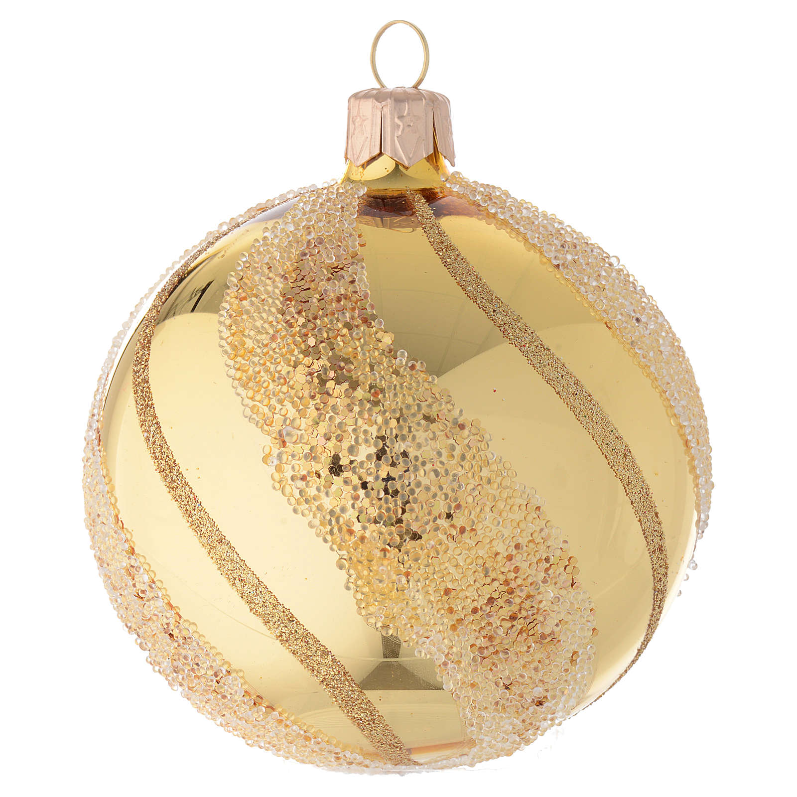 Addobbo Natale palla vetro oro glitter 80 mm 4