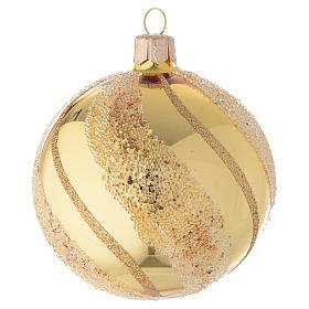 Addobbo Natale palla vetro oro glitter 80 mm s1