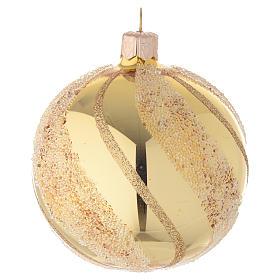 Addobbo Natale palla vetro oro glitter 80 mm s2