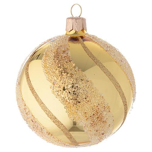 Addobbo Natale palla vetro oro glitter 80 mm 1