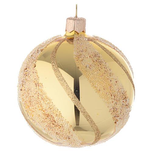 Addobbo Natale palla vetro oro glitter 80 mm 2