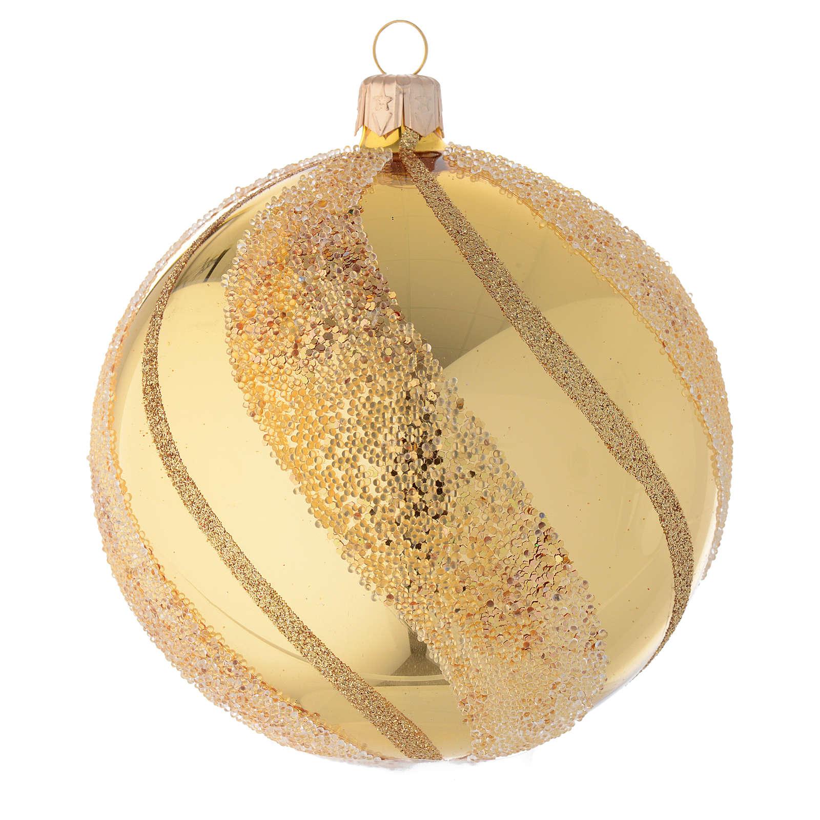Adorno de Navidad bola de vidrio oro con glitters 100 mm 4