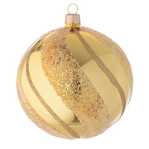Adorno de Navidad bola de vidrio oro con glitters 100 mm 1
