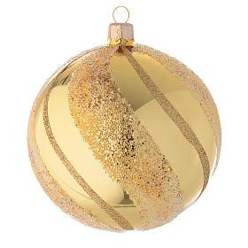Ornement Noël boule verre or et paillettes 100 mm s1