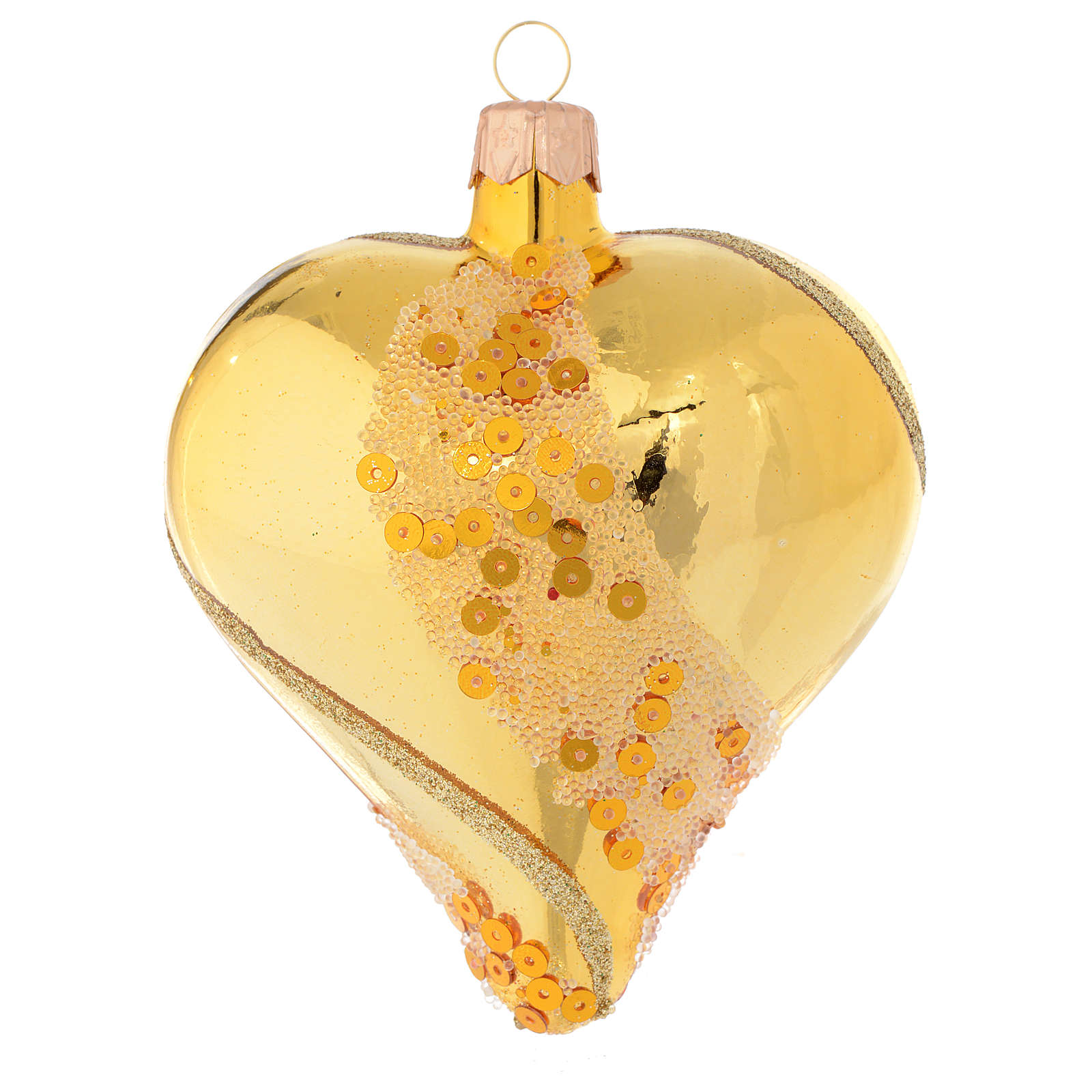 Heart Shaped Bauble in gold blown glass with glitter decoration 100mm 4