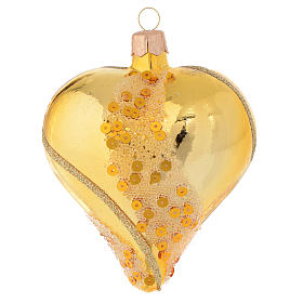 Christmas balls: Heart Shaped Bauble in gold blown glass with glitter decoration 100mm
