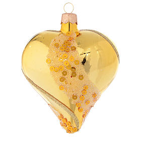 Heart Shaped Bauble in gold blown glass with glitter decoration 100mm s2