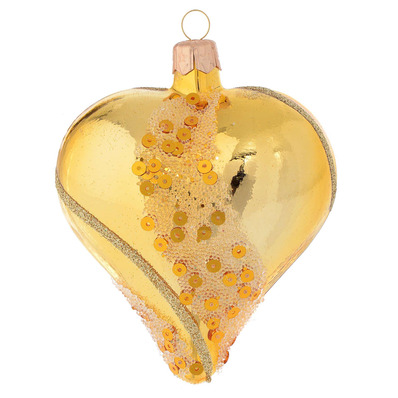 Adorno árbol de Navidad bola corazón de vidrio soplado oro con glitters 100 mm 4