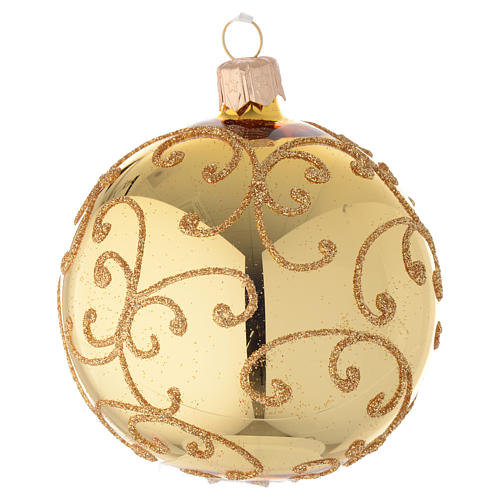 Bauble in gold blown glass with golden motif 80mm 1
