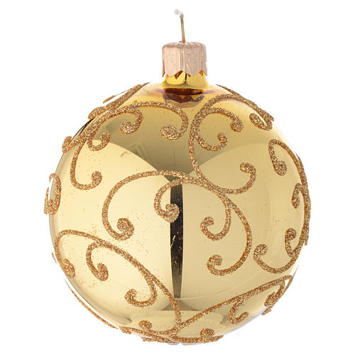 Bauble in gold blown glass with golden motif 80mm 2