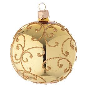 Bolas de Navidad: Bola de Navidad de vidrio con decoración arabesca dorada 80 mm