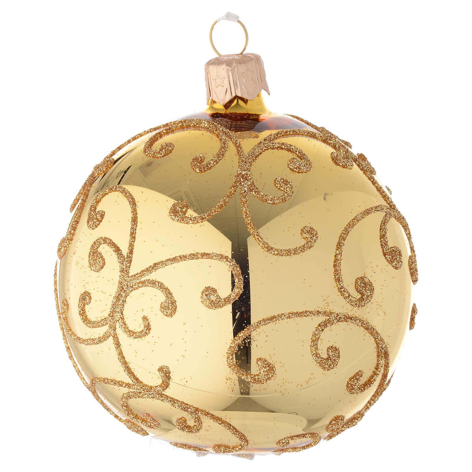 Bombka bożonarodzeniowa  szkło koloru złotego dekoracje arabeska 80mm 4