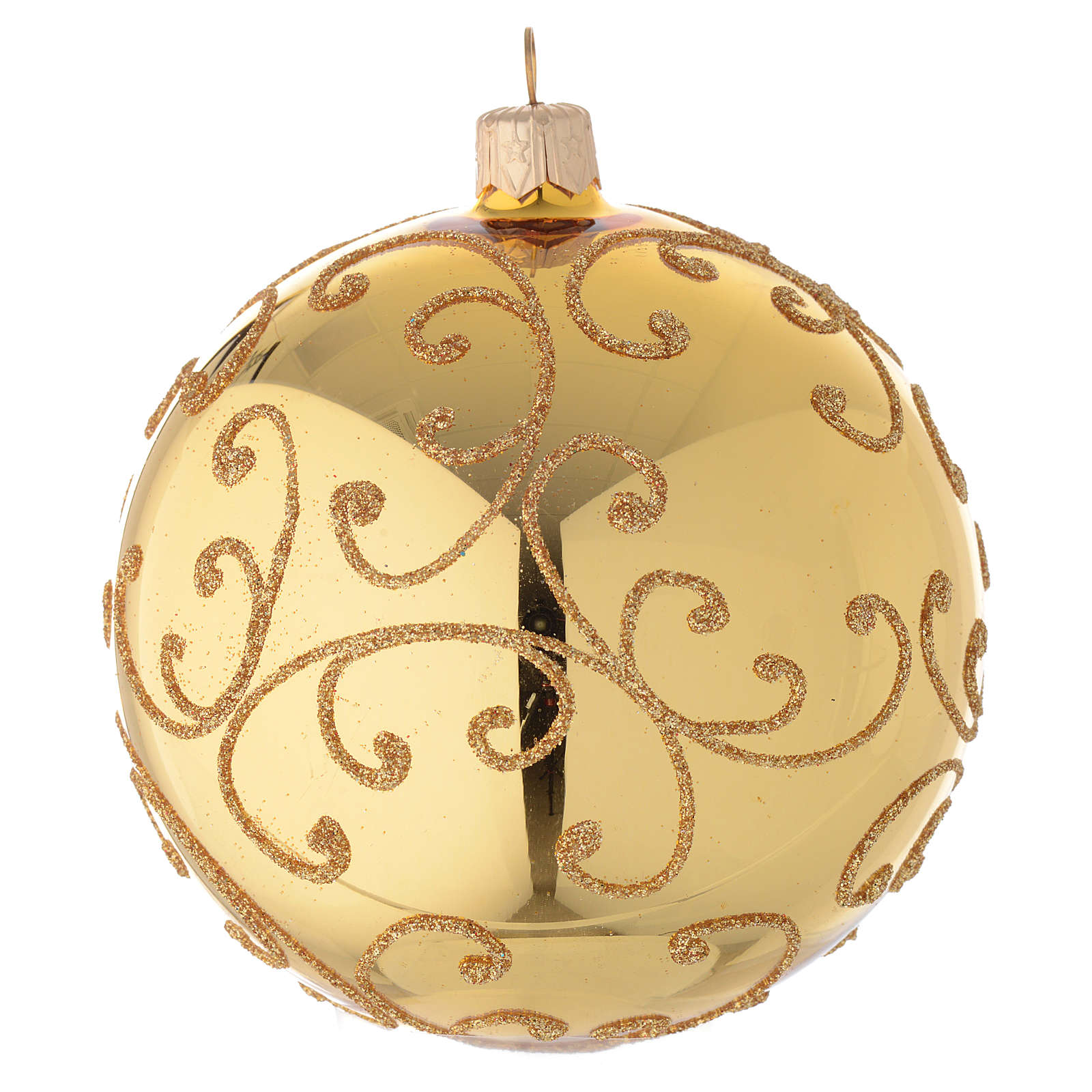 Bauble in gold blown glass with golden motif 100mm 4