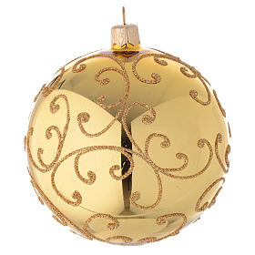Bauble in gold blown glass with golden motif 100mm s1