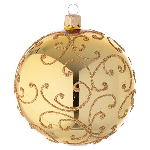 Bauble in gold blown glass with golden motif 100mm 2