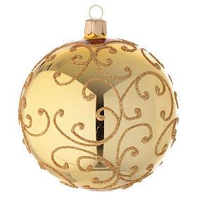 Adorno árbol de Navidad de vidrio con decoración arabesca dorada 100 mm s2