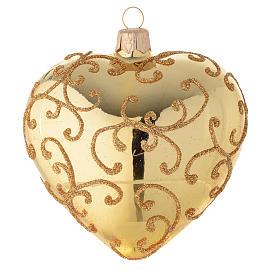 Addobbo cuore vetro decoro arabesco 100 mm s1