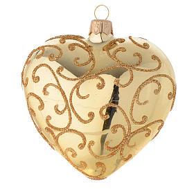 Addobbo cuore vetro decoro arabesco 100 mm s2