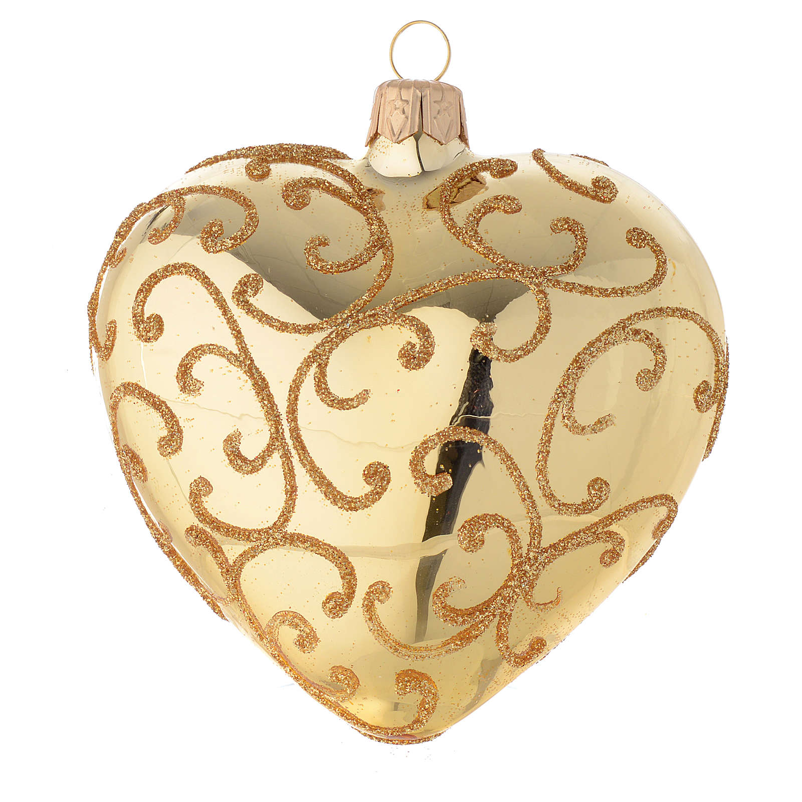 Heart Shaped Bauble in gold blown glass with golden motif 100mm 4