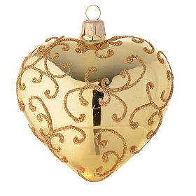 Heart Shaped Bauble in gold blown glass with golden motif 100mm s1