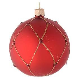 Bola de Navidad de vidrio rojo con piedras artificiales 80 mm s1
