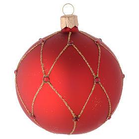 Bola de Navidad de vidrio rojo con piedras artificiales 80 mm s2