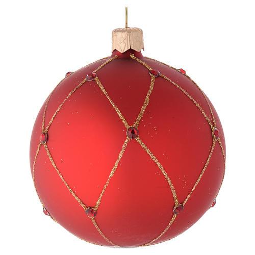 Bola de Navidad de vidrio rojo con piedras artificiales 80 mm 1