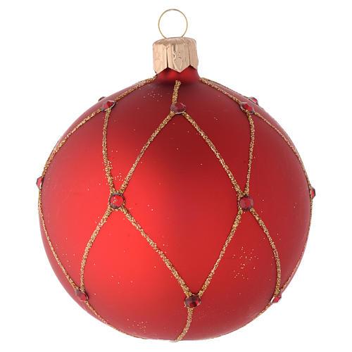 Bola de Navidad de vidrio rojo con piedras artificiales 80 mm 2