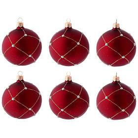 Boule Noël verre rouge pierres 80 mm s3