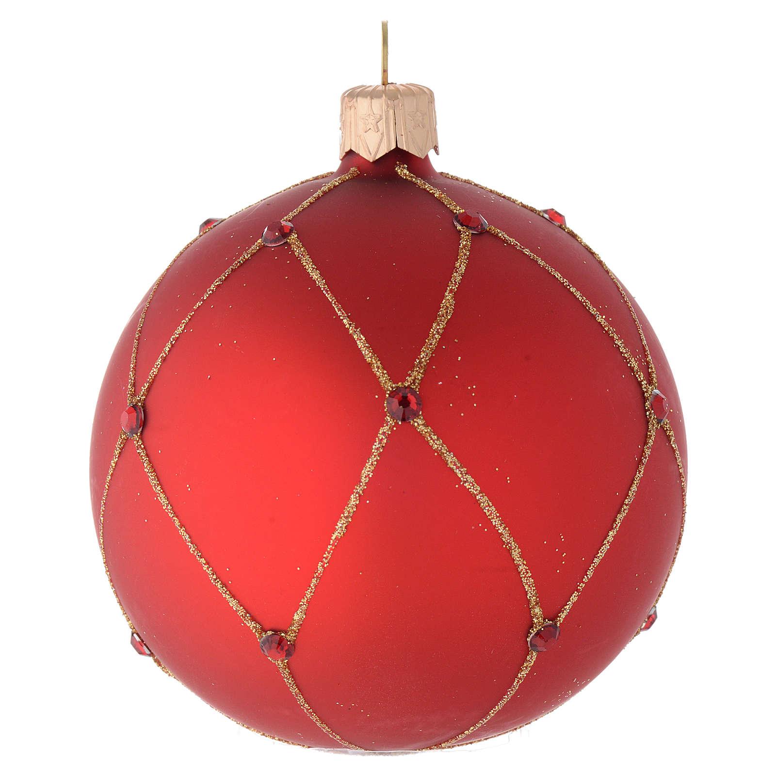 Bombka bożonarodzeniowa  szkło koloru czerwonego dekoracje kamyczki 80mm 4