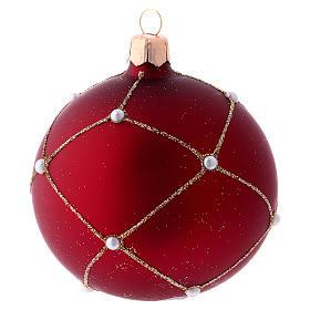 Adorno de Natal bola vidro vermelho pedras 80 mm s4