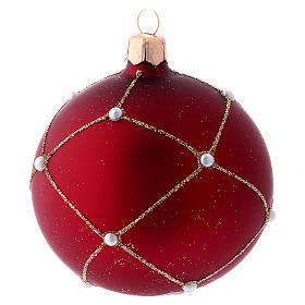 Bauble in red blown glass with glitter and stones 80mm s4
