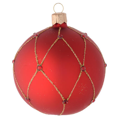 Bauble in red blown glass with glitter and stones 80mm 2
