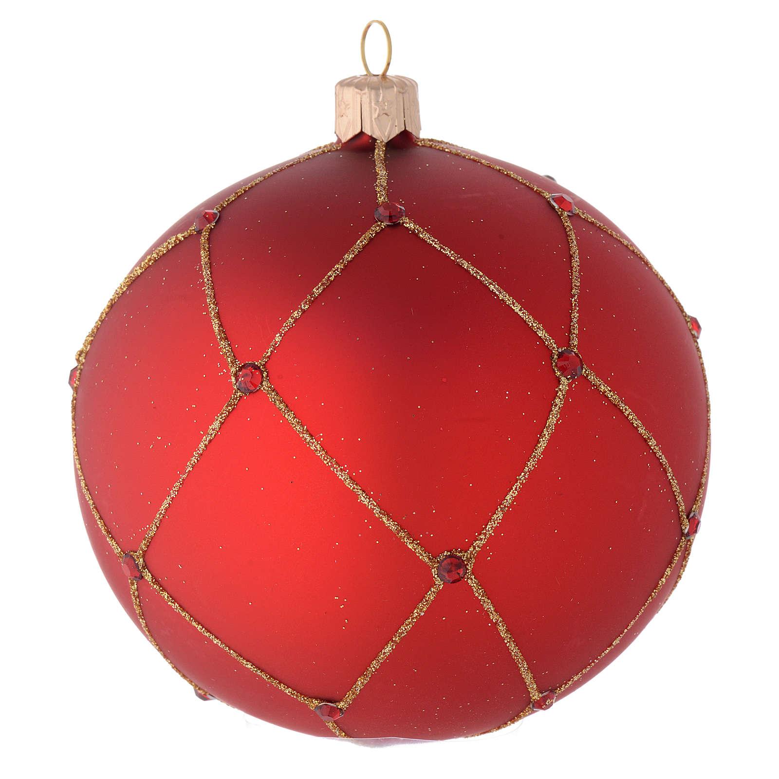Adorno para árbol de Navidad bola vidrio rojo con piedras 100 mm 4