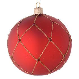 Adorno para árbol de Navidad bola vidrio rojo con piedras 100 mm s2