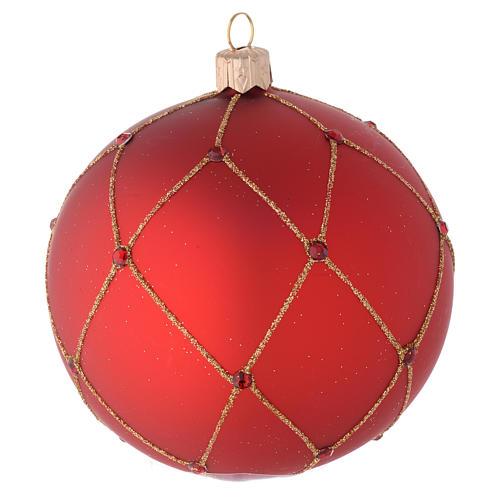 Adorno para árbol de Navidad bola vidrio rojo con piedras 100 mm 2