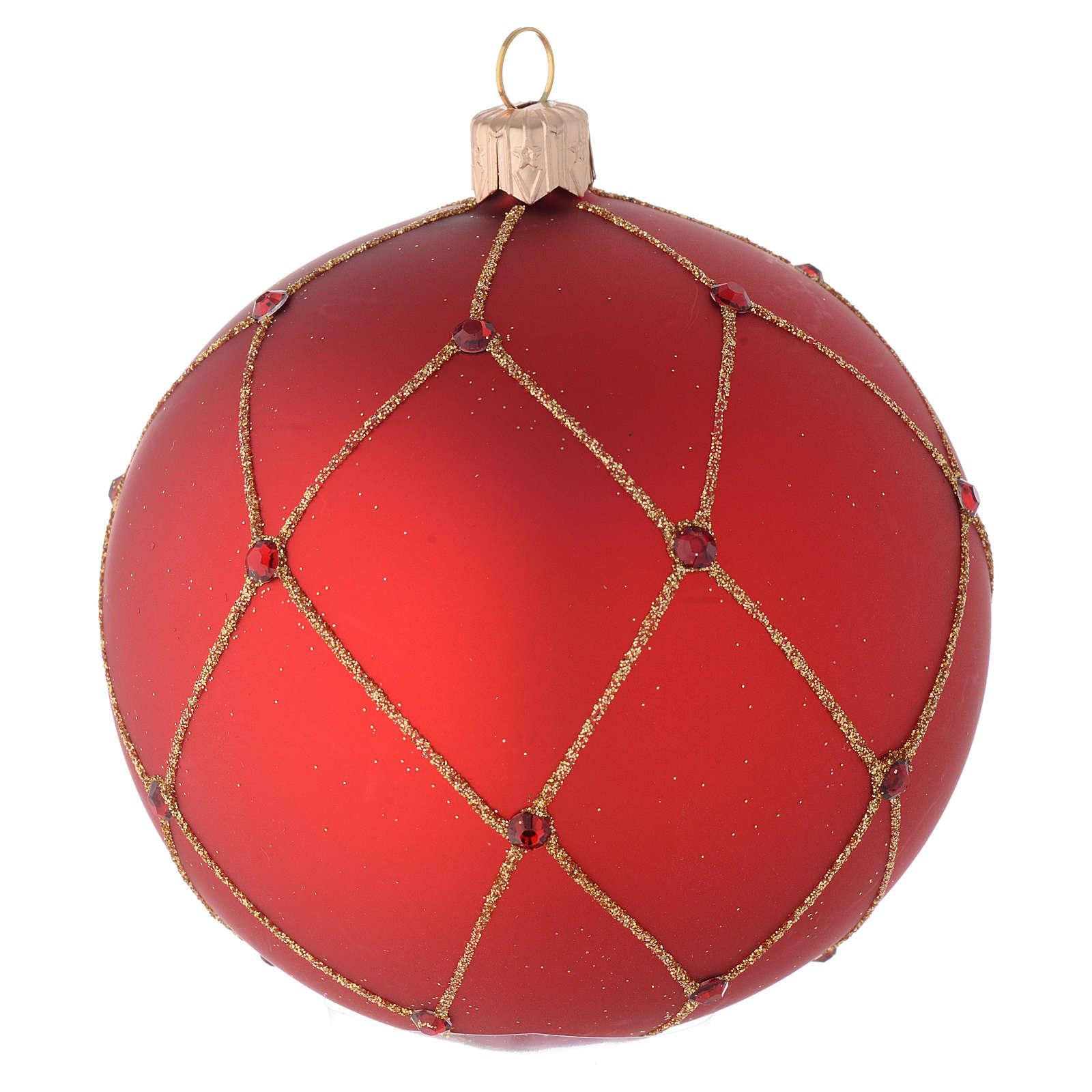 Addobbo palla vetro rosso pietre 100 mm 4