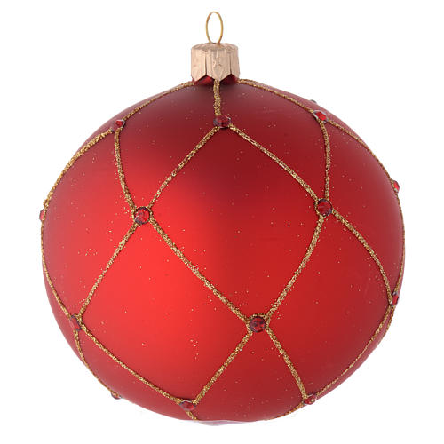 Bauble in red blown glass with glitter and stones 100mm 1