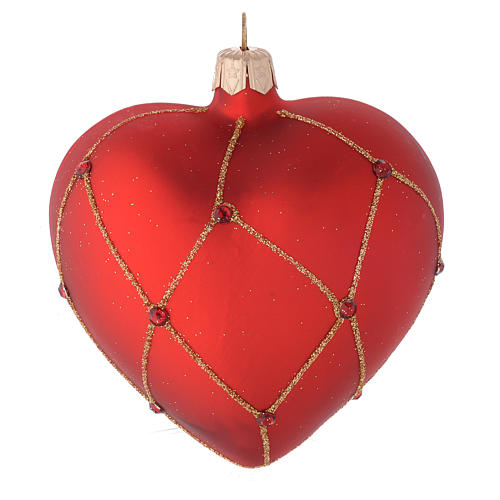 Heart Shaped Bauble in red blown glass with glitter and stones 100mm 1