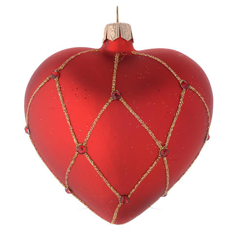 Heart Shaped Bauble in red blown glass with glitter and stones 100mm 2