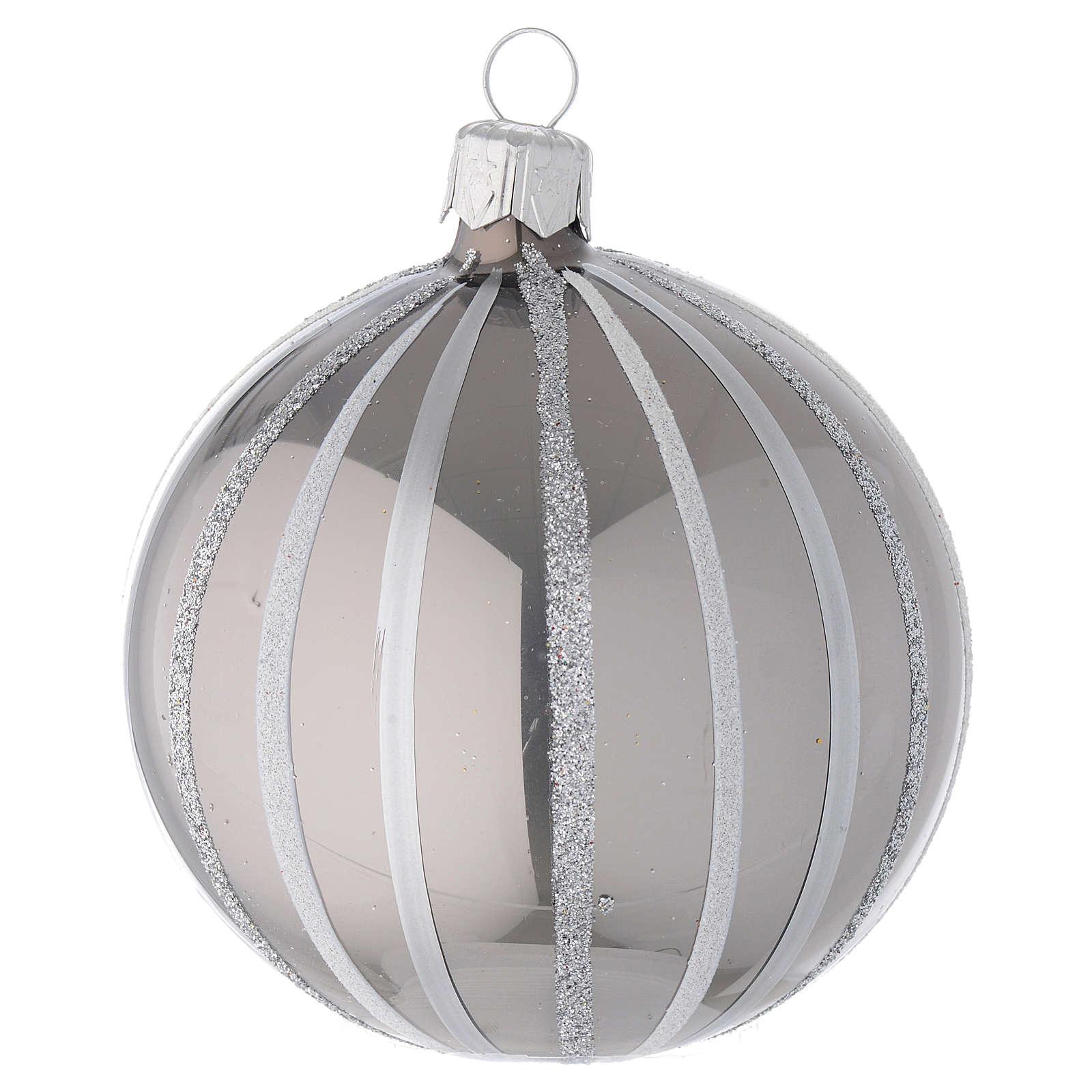 Bola de Navidad de vidrio soplado plata con rayas 80 mm 4