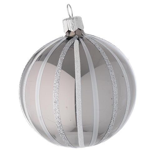 Bola de Navidad de vidrio soplado plata con rayas 80 mm 1