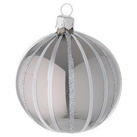 Decoro Palla vetro soffiato argento righe 80 mm s2