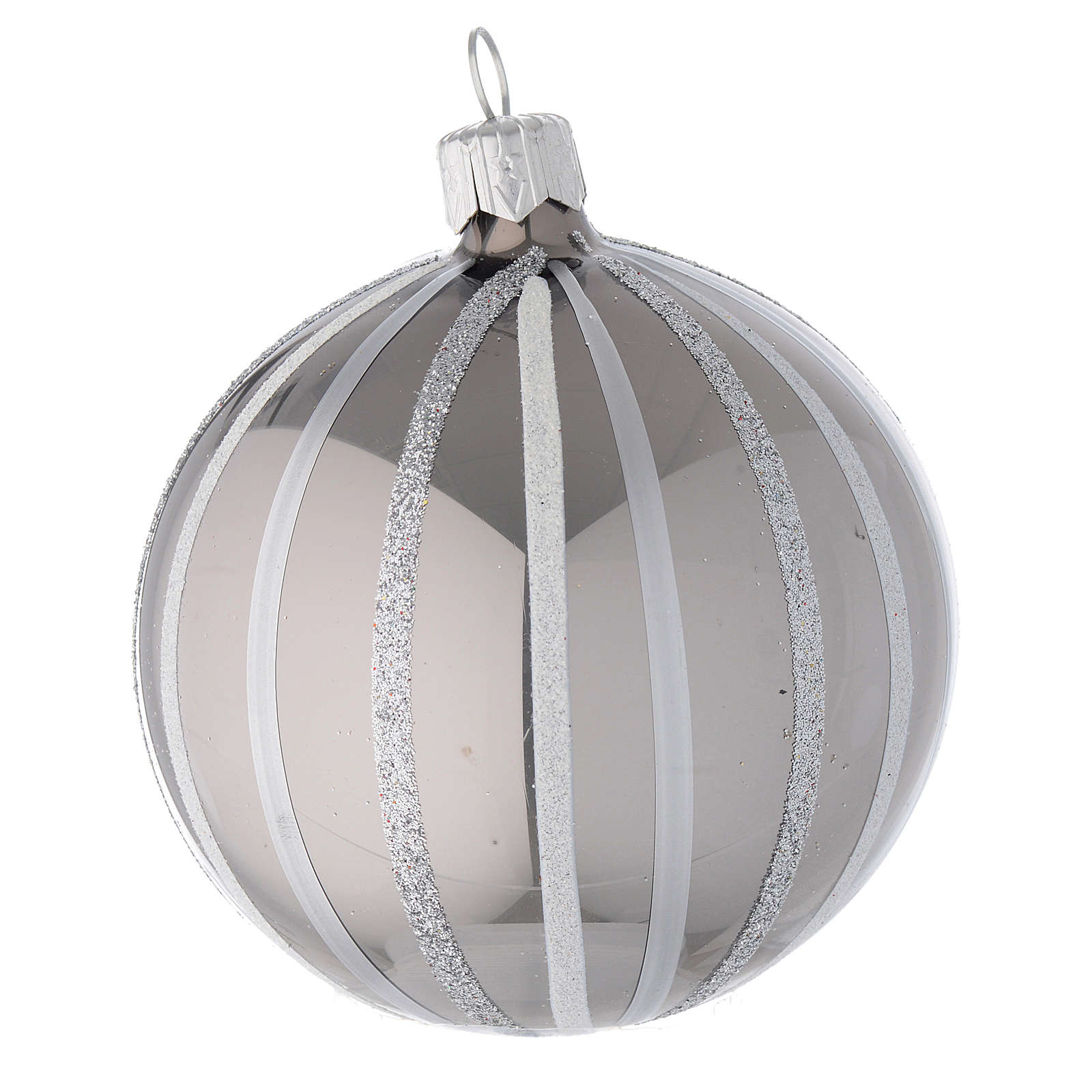 Bauble in silver blown glass with stripes 80mm 4